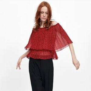 Zara Off the Shoulder Pleated Top